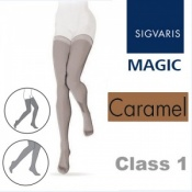 Sigvaris Magic Class 1 Thigh High  Closed Toe Compression Stockings - Caramel