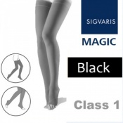 Sigvaris Magic Class 1 Thigh High Open Toe Compression Stockings - Black