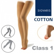 Sigvaris Cotton Class 1 Compression Thigh High Open Toe Stockings with Knobbed Grip Top - Nature