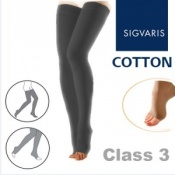 Sigvaris Cotton Class 3 Black Thigh Compression Stockings with Open Toe and Knobbed Grip Top