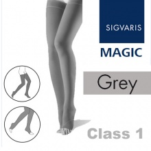 Sigvaris Magic Class 1 Thigh High Closed Toe Compression Stockings - Grey