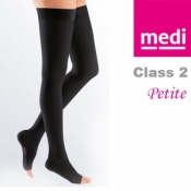 Medi Mediven Plus Class 2 Black Thigh Petite Compression Stockings with Open Toe