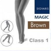 Sigvaris Magic Class 1 Open Toe Compression Tights - Brown