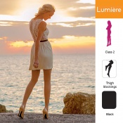 Venactif Lumiere AFNOR Class 2 Black Thigh Compression Stockings