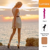 Venactif Lumiere AFNOR Class 2 Bronze Thigh Compression Stockings with Open Toe