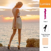 Venactif Lumiere AFNOR Class 2 Natural Thigh Compression Stockings with Open Toe