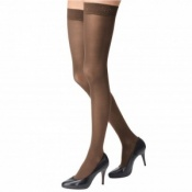 Bauerfeind VenoTrain Micro Class 1 Thigh-High Caramel Compression Stocking with Silicon Dots