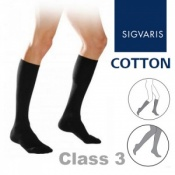 Sigvaris Cotton Xtra Class 3 Black Below Knee Compression Stockings with Open Toe