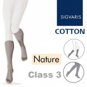 Sigvaris Cotton Xtra Class 3 Nature Below Knee Compression Stockings with Open Toe