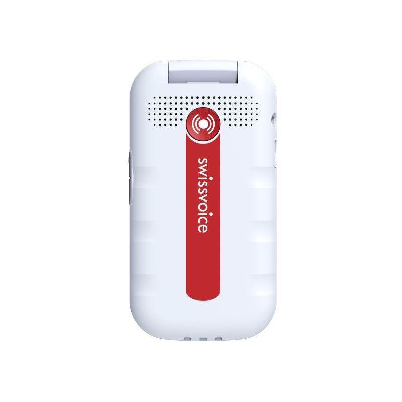 Téléphone portable à clapet double écran amplifié Swissvoice D28 (blanc)