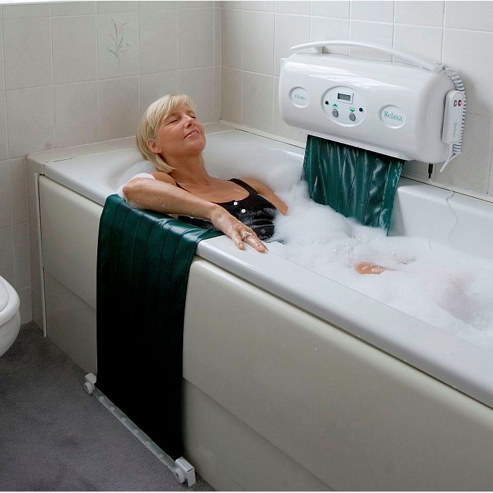 Woman relaxing in the Relaxa Bath Lift