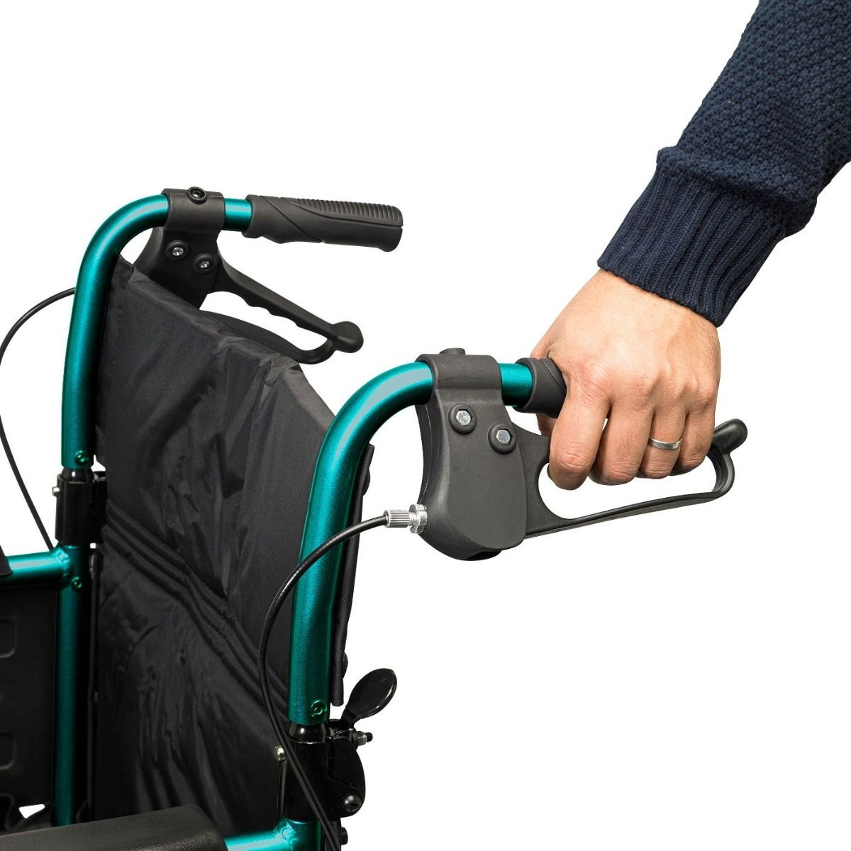 The Days Standard Width Escape Lite Wheelchair features attendant-operated brakes