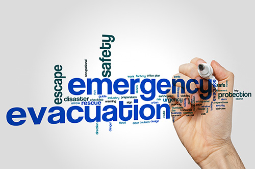 Emergency evacuation sledge fire safety word cloud