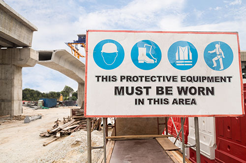 You will find blue mandatory saftey signs in all demolition and construction sites
