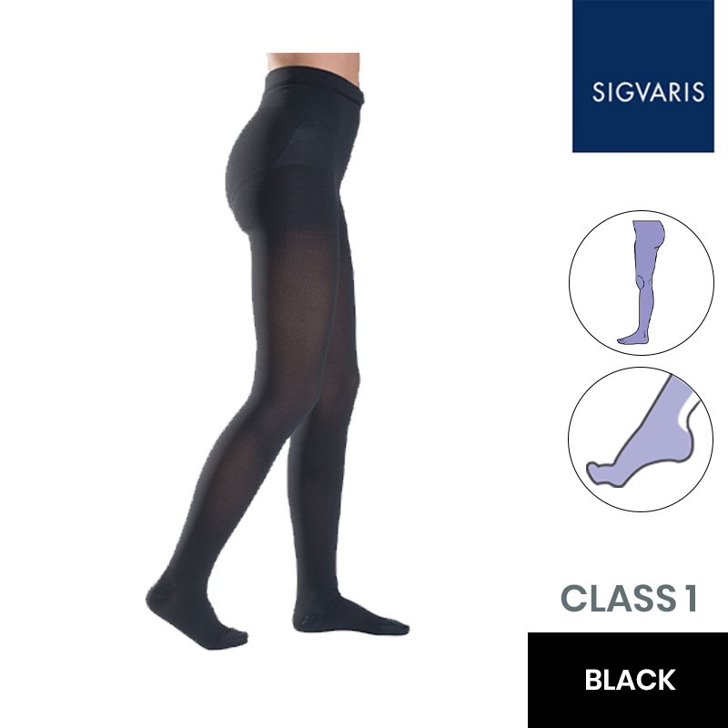 Sigvaris Essential Thermoregulating Class 1 (18-21mmHg) Black Compression Tights