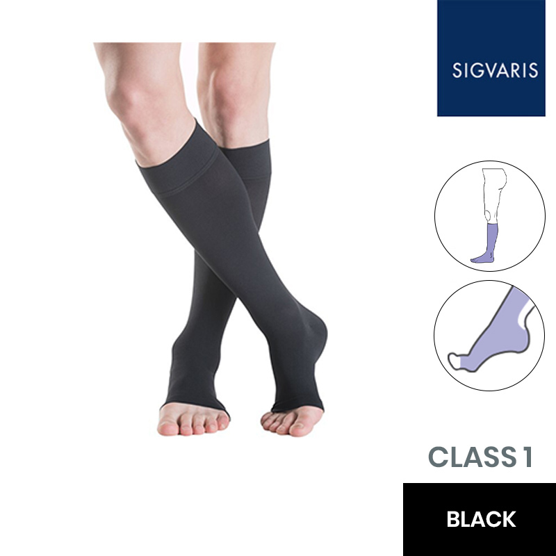Sigvaris Essential Thermoregulating Class 1 (18-21mmHg) Knee High Black Compression Stockings with Open Toe