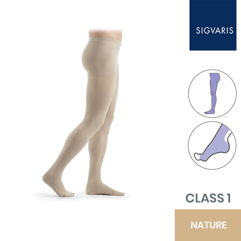 Sigvaris Essential Thermoregulating Class 1 (18-21mmHg) Nature Compression Tights with Open Toe