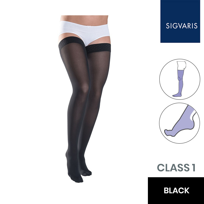 Sigvaris Essential Thermoregulating Class 1 (18-21mmHg) Thigh Black Compression Stockings with Knobbed Grip