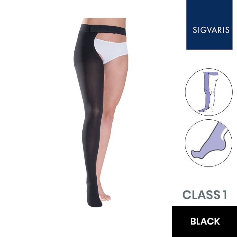 Sigvaris Essential Thermoregulating Class 1 (18-21mmHg) Thigh Black Compression Stocking with Waist Attachment