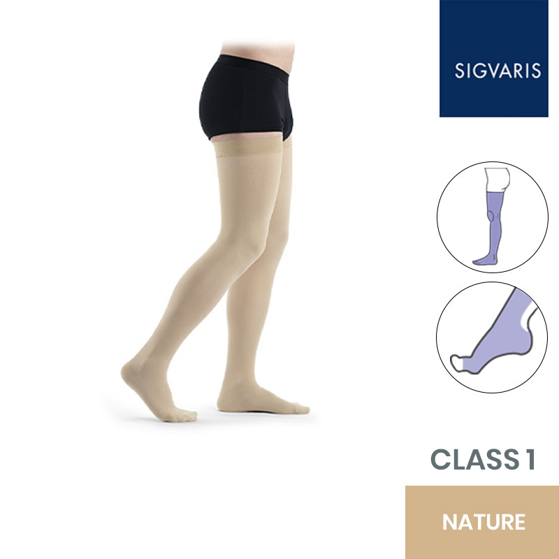 Sigvaris Essential Thermoregulating Class 1 (18-21mmHg) Thigh Nature Compression Stockings with Knobbed Grip and Open Toe