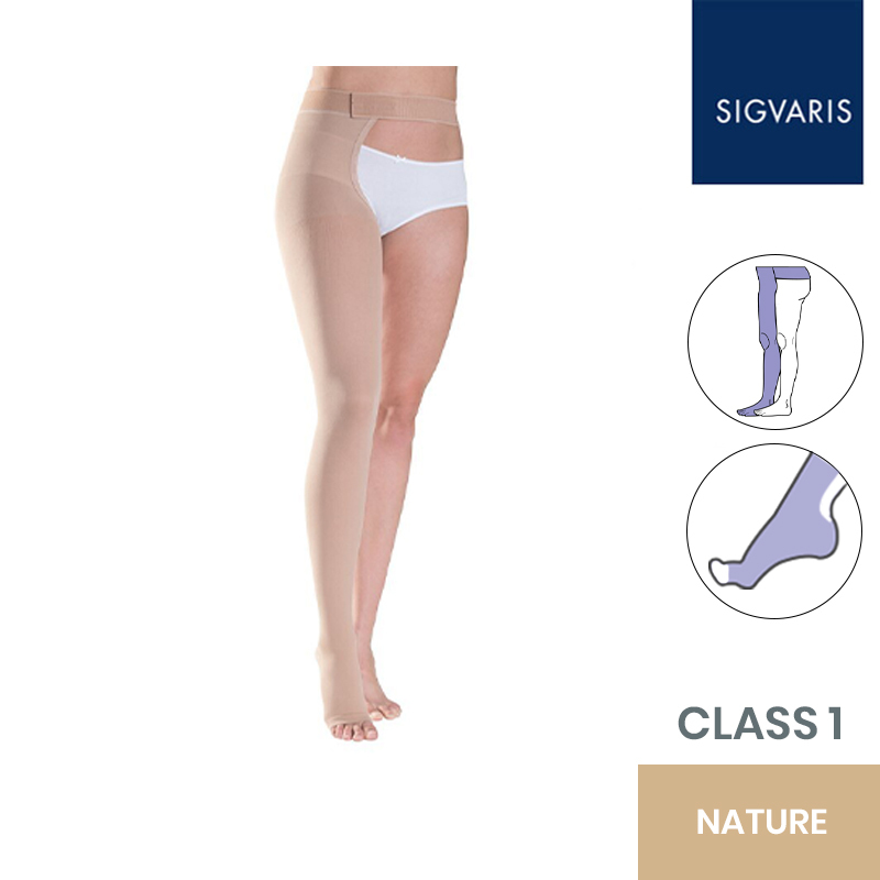 Sigvaris Essential Thermoregulating Class 1 (18-21mmHg) Thigh Nature Compression Stocking with Waist Attachment
