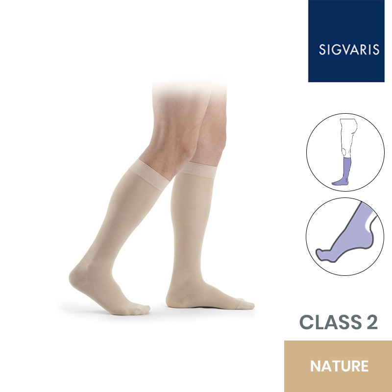 Sigvaris Essential Thermoregulating Unisex Class 2 (23-32mmHg) Knee High Maxi Foot Nature Compression Stockings