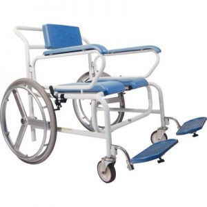 Bariatric Self-Propelled Wheeled Shower Commode Chair with Butterfly Armrests
