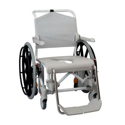 etac swift mobile shower toilet chair including bucket holder