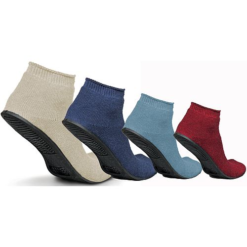 Medline Terry Cloth Sure Grip Rubber Sole Small Red