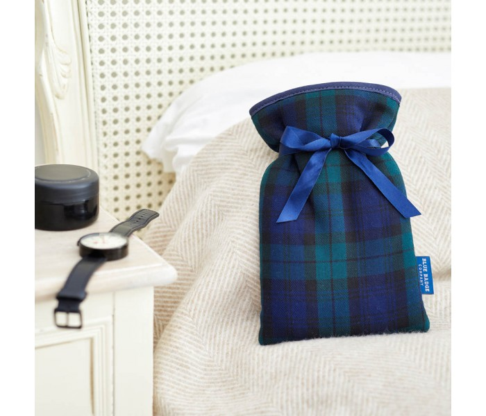 Keep Warm This Winter with the Blue Badge Company Mini Hot Water Bottle with a Blackwatch Tartan Soft Cover