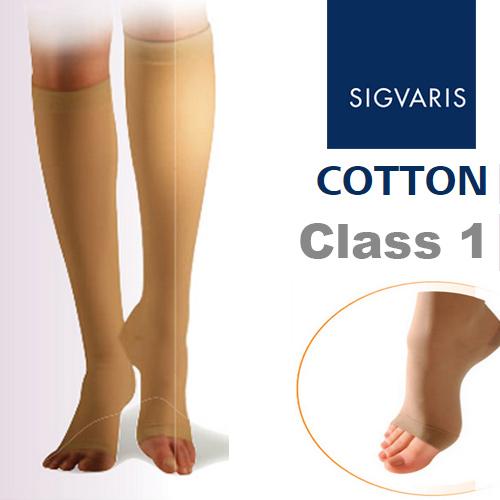 2df1e742d0 Sigvaris Cotton Class 1 Compression Below Knee Open Toe Stockings ...