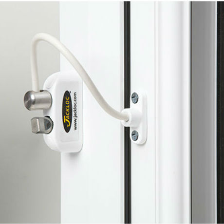 Jackloc Window Restrictor White Security Keylock 200mm Swivel Cable