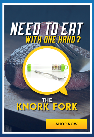 Knork for eating with one hand
