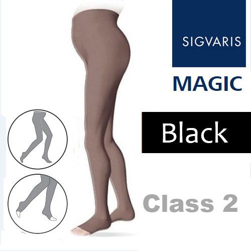 6193ca5319e91 Sigvaris Magic Class 2 Open Toe Maternity Compression Tights - Black ...