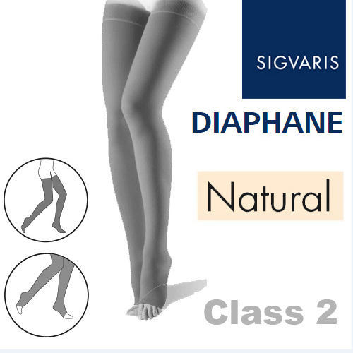 db9ac15685 Sigvaris Diaphane Thigh Class 2 Natural Compression Stockings - Open ...