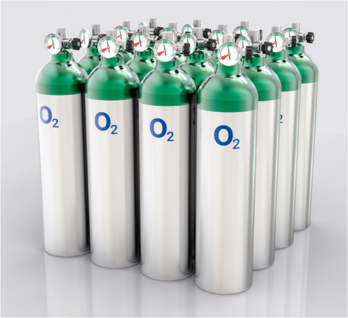 Oxygen cylinders in rows