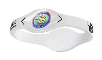 Power Balance Bracelet Band WHITE with WHITE Writing Black Mylar Wristband