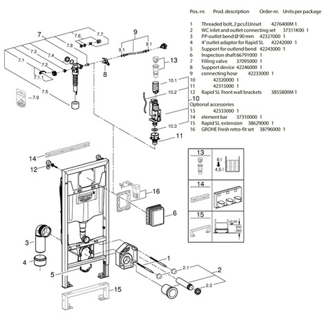 Parts of the Rapid SL wall mounting frame