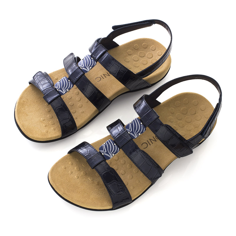 8ce392707752 Vionic Amber Orthotic Sandals Navy Croc    Sports Supports ...