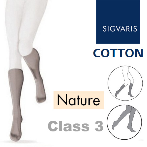 abf9a14ea5 Sigvaris Cotton Xtra Class 3 Nature Below Knee Compression Stockings with  Open Toe :: Sports Supports | Mobility | Healthcare Products