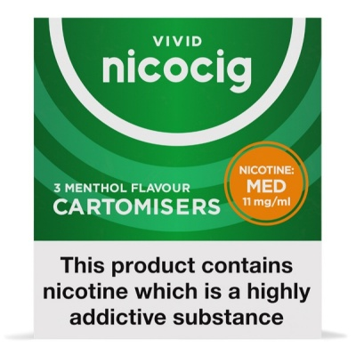 Vivid Nicocig Refill Cartridges Medium Strength Menthol Cartomisers