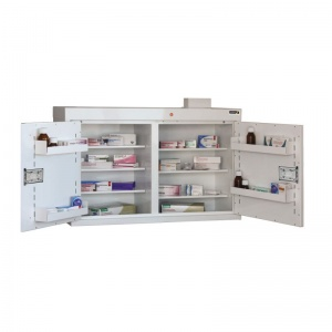 Sunflower Medical Double Door Medicine Cabinet 60 x 100 x 30cm with Six Shelves and Five Door Trays