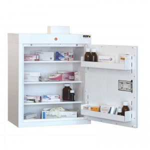 Sunflower Medical Medicine Cabinet 66 x 50 x 30cm with Three Shelves, Two Door Trays and Warning Light