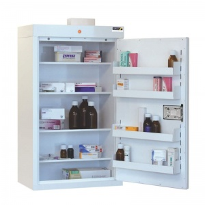 Sunflower Medical Medicine Cabinet 91 x 50 x 30cm with Four Shelves, Four Door Trays and Warning Light