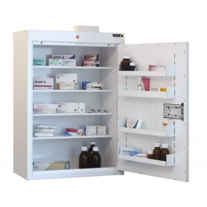 Sunflower Medical Medicine Cabinet 91 x 60 x 30cm with Four Shelves, Four Door Trays and Warning Light