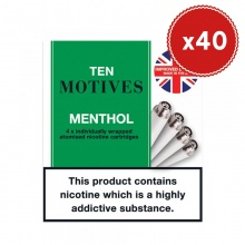 10 Motives E-Cigarette Menthol Refill Cartridges Saver Pack (40 Packs)