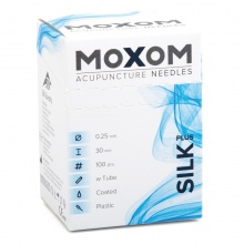 MOXOM Silk Plus Silicone Coated Acupuncture Needles with Guidance Tube 100 Pack