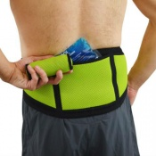 4Dflexisport® Black and Lime Lumbar Support Belt with Ice and Heat Pack