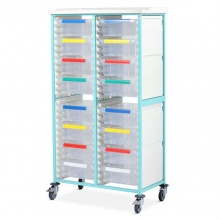 Bristol Maid Double-Column Caretray Rack with Twelve Shallow Trays and Eight Deep Trays on Castors