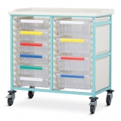 Bristol Maid Double-Column Caretray Trolley with Three Shallow Trays and Six Deep Trays